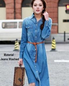 Baju Dress Tunik MNG Full Button Jeans  | kaoskeren.net