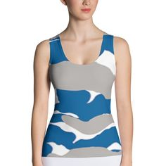 Gray, Blue, and White Camo Tank Top