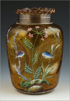 Great amber crackle glass pinched body vase decorated with enamel fish scene and decoration around the frill neck by Moser, 19th Cent.