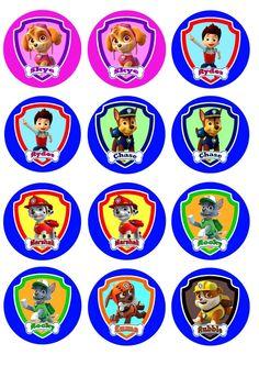 Free Printable Toppers of Paw Patrol. Bolo Do Paw Patrol, Cumple Paw Patrol, Paw Patrol Cake, Paw Patrol Party, Paw Patrol Birthday, Paw Patrol Cupcake Toppers, Paw Patrol Cupcakes, Edible Cupcake Toppers, Escudo Paw Patrol