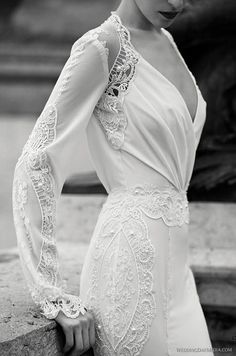 great gatsby inspired vintage long sleeved wedding dresses with pearls