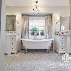 Silver Claw Foot Tub Between Washstands, Transitional, Bathroom