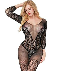 64d8492d06e Buitifo Womens Fishnet Bodystocking Plus Size Crotchless Bodysuit Sexy  Tights (Black 3)