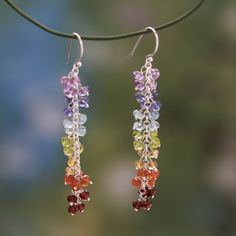 Gemstones represent the seven chakras with and their colors in this stunning pair of earrings. Handcrafted by Ritu, these sterling silver earrings combine a medley of amethyst, aquamarine and iolite with citrine, peridot, carnelian and garnet.