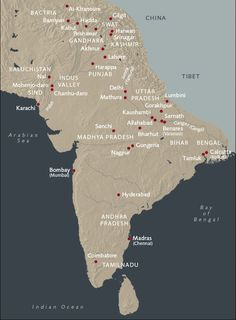 MAP OF ANCIENT INDIA - included Gandhara, Bactria and the Indus Valley Civilizatoin. Religion has played a central role in Indian life and culture for at least four thousand years. Between 500 BC5 and AD 500 the major historic religions of Hinduism, Buddhism and Jainism were developing to maturity.