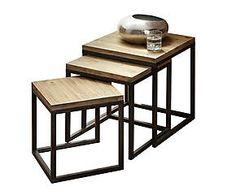 Set de 3 mesas nido en hierro y madera de abeto