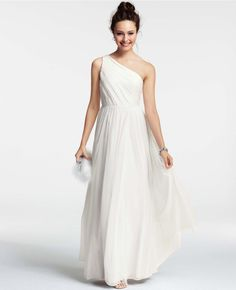 Silk Georgette Pleated One Shoulder Gown