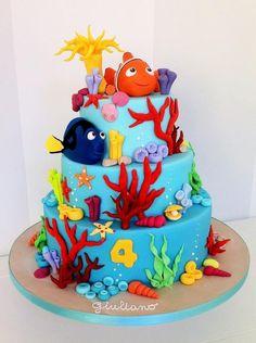 The great barrier reef cake – Cake by Bella's Bakery Die große Barriereriff-Torte – Cake von Bella's Bakery Ocean Cakes, Beach Cakes, Cupcakes, Cupcake Cakes, Finding Nemo Cake, Finding Dory, Little Mermaid Cakes, Shark Cake, 4th Birthday Cakes