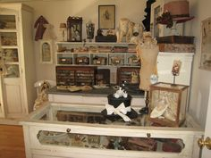 Studio of my dreams ~ I so love Nicol's studio furniture, storage and how she decorated her studio with old time treasures!