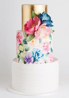 Is Hand Painted Wedding Cakes Still Relevant? - Is Hand Painted Wedding Cakes Still Relevant? Painted Wedding Cake, Cool Wedding Cakes, Elegant Wedding Cakes, Beautiful Wedding Cakes, Gorgeous Cakes, Wedding Cake Designs, Pretty Cakes, Cute Cakes, Boho Wedding