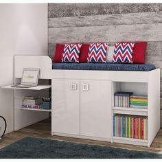 Compre Cama de Solteiro com 2 Portas e Escrivaninha Art in Móveis Juvenile Branco em até 10x sem juros e entrega para todo Brasil. Aproveite!