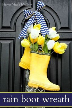 Spring decor. Black entry door, yellow rain boots with tulips, and zigzag bow. Welcome to spring, wreath alternative, front door decor #ad #springdecor #rainboots #wreath #curbappeal #frontdoor #entry