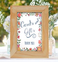 For the Cards & Gifts Table!  Watercolor Florals for Wedding~ Instant Download~ 5x7 , 8x10 by FoxyPrintables on Etsy