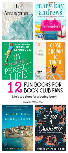 12 fun book club books for lighthearted discussions. Getting together with your girlfriends for book club can be FUN! It doesn't always have to be a heavy serious book. Check out these awesome book recommendations for easy reading.  #bookclub #bookclubbooks #bookrecommendations #bookclubideas