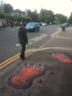 Joe Hill Art - 3D Pavement Art dreapp.com Best Street Art, Amazing Street Art, 3d Street Art, 3d Sidewalk Art, Pavement Art, 3d Chalk Art, Hip Hop Art, Popular Art, Mural Art