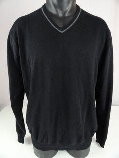 NWT Jos A Bank Mens XL V Neck Sweater Cashmere Cotton Blend Black LS Joseph New  #JosABank #VNeck