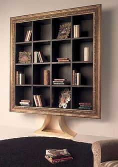 22 Modern Book Shelves to Display Books in Creative and Beautiful Ways unique book shelf design ideas for modern interior decorating Diy Design, Shelf Design, Design Ideas, Creative Bookshelves, Rustic Bookshelf, Bookshelf Ideas, Modern Leather Sofa, Modern Books, Wall Shelves