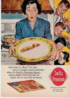 Family totem pole strikes again. (Funny bad retro bacon ad)