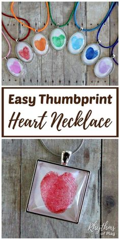 Thumbprint Heart Necklace DIY A fingerprint or thumbprint heart necklace is a unique handmade craft and gift idea that kids can make. Use this easy fingerprint heart necklace jewelry making tutorial to make one-of-a-kind fingerprint necklace pendants your Mothers Day Crafts For Kids, Valentine Day Crafts, Diy Crafts For Kids, Arts And Crafts, Holiday Crafts, Easy Crafts, Family Crafts, Diy Christmas, Fingerprint Heart