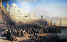 Algérie - Peintre Anglais William WYLD (1806-1889 ), huile sur toile ,Titre :Le départ d'Israélites pour la terre sainte a partir du port d'Alger