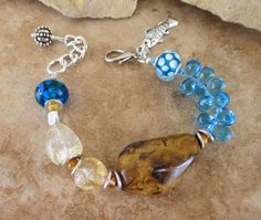 Boho Bracelet Sand and Surf Tiger Eye and Citrine by BohoStyleMe