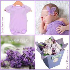 Bebe buque mini enxoval lilás para menina. 01 body + calça + 03 fraldas grandes de algodão. Uma fofura!