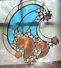 Stained Glass and Nautilus Wave Panel by NicholsStainedGlass Stained Glass Ornaments, Stained Glass Suncatchers, Stained Glass Crafts, Stained Glass Windows, Soldering Techniques, Stained Glass Patterns Free, Glass Art Pictures, Nautilus Shell, Rustic Room