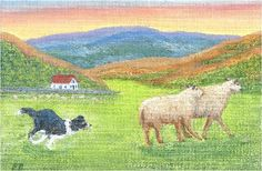 """Breagh On Balance"" with Border Collie, Breagh, on balance in a Scottish landscape as she herds two runaway sheep back home, from an original painting by North Carolina artist, Fran Brooks. www.artistnannie.com"