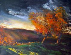 """""""Maurice de Vlaminck (French, 1876-1958), Paysage d'automne, ciel d'orage [Autumn landscape, orange sky]. Oil on canvas, 55 x 65 cm. """""""