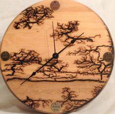 Handcrafted Clock Lichtenberg Wood Figured Fractal Burned