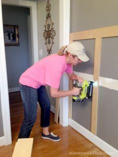 Home Decorating DIY Projects: Dining Room Board and Batten Tips-Ryobi Air Strike - Decor Object Room Remodeling, Dining Room Design, Moldings And Trim, Board And Batten, Home Remodeling, Small Dining, Dining Room Remodel, Dining Room Decor, Batten