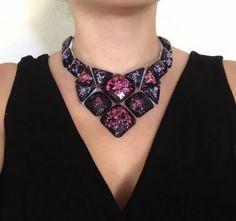 STUNNING I WANT! bib black necklace glittery rhinestone bib necklace by BienBijou, $27.99