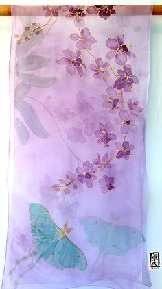 Hand Painted Silk Shawl Scarf, Purple Silk Shawl, Night Orchids and Luna Moths, Silk Chiffon Shawl, inches. Hand Painted Sarees, Hand Painted Fabric, Painted Silk, Saree Painting Designs, Fabric Paint Designs, Batik Art, Purple Hands, Purple Orchids, Silk Art