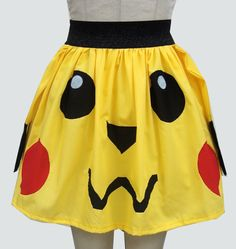 Pikachu Inspired Full Skirt by GoChaseRabbits Cool Outfits, Summer Outfits, Fashion Outfits, Summer Clothes, Pikachu Mascot Costume, Retro Videos, Geek Girls, Girl Gamer, Cotton Skirt