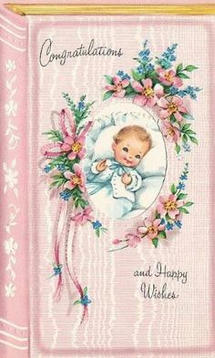 Congrats card for birth of baby ~ vintage 1950s