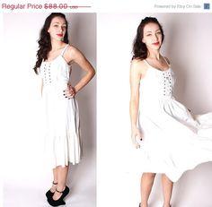 White Vintage 70s Delicate Lace Boho Prairie Wedding Dress with Black SatinTrim