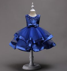 Blue Satin Tulle Girl Dress, TuTu Dress,Flower Girl Dresses with Pearl bow, Baby Kids Birthday Party Girls Party Dress, Birthday Dresses, Little Girl Dresses, Baby Dress, Girls Dresses, Birthday Tutu, Girl Birthday, Dress Party, Party Dresses