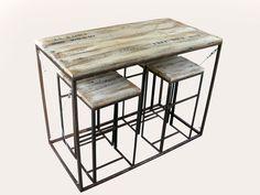 Mesa mas taburetes hierro y madera recuperada, $4100 en https://ofeliafeliz.com.ar