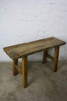 Vintage varnished wooden bench