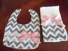 Hey, I found this really awesome Etsy listing at https://www.etsy.com/listing/199352718/burp-cloth-bib-set-gray-chevronpink-baby