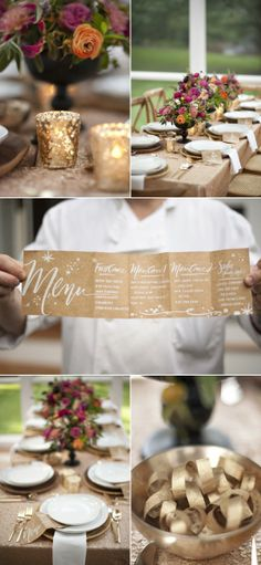 Sparkling gold accordian fold menu via SMP at Home: A Surprise Party, Part IV Wedding Pins, Fall Wedding, Wedding Reception, Our Wedding, Wedding Foods, Wedding Ideas, Wedding Weekend, Wedding Vintage, Wedding Catering