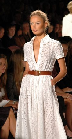 Summer style- White eyelet partial button front belt with shirt collar, side seam pockets, full sweep and paired with a nice   caramel structured belt.  LOVE THIS LOOK!!