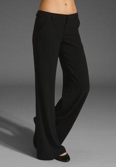 ALICE + OLIVIA Slim Wide Leg Tuxedo Trouser in Black at Revolve Clothing - Free Shipping!