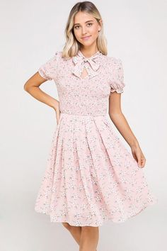 Reese Ribbon Tie Neck Floral Dress