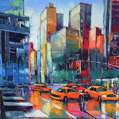 """Eric Le Pape, """"Croisement de la 6 ème NY""""- 100x100 cm Eric Le Pape, Skyline Painting, Building Art, Art Moderne, Naive Art, Texture Art, Light Painting, Beautiful Paintings, Artist Art"""
