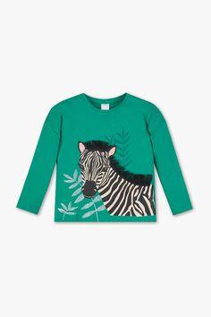 Kids - Long sleeve T-shirt - organic cotton - shiny - dark green Delicate Wash, Suits You, Graphic Sweatshirt, T Shirt, Zebra Print, Sustainable Fashion, Organic Cotton, Latest Fashion, Your Style