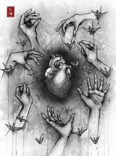 Delicate Balance - Detailed Ink Drawings by Nanami Cowdroy Dark Art Drawings, Pencil Art Drawings, Art Drawings Sketches, Deep Art, Arte Obscura, Medical Art, Sad Art, Anatomy Art, Art Sketchbook