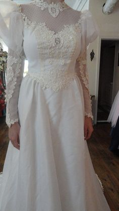 Vintage 1980 Ivory Wedding Gown by WeddingDressMeLovely on Etsy, $199.99