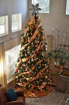 Christmas Tree idea. Love the use of ribbon. Click on picture and get more Christmas tree ideas