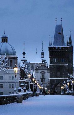 Snowy Charles Bridge, Prague, Czech Republic